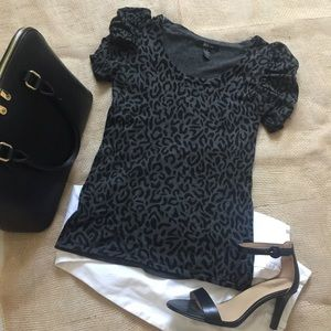 Style &Co. grey and black leopard print top